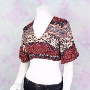 Anthropologie Illa Illa Boho Festival Crop Top